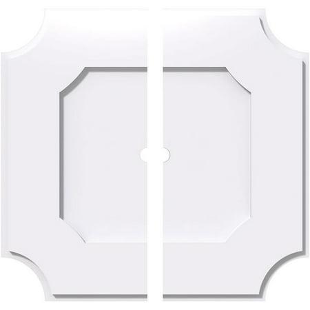 Ekena Millwork CMP38LE2-02000 38 in. OD x 2 in. ID Square Locke Architectural Grade PVC Contemporary Ceiling Medallion - 2 Piece - image 1 de 1
