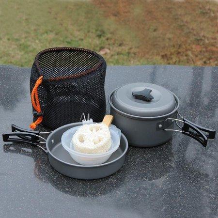 (8pcs Outdoor Camping Cookware Cooking Picnic Bowl Pot Pan Set)