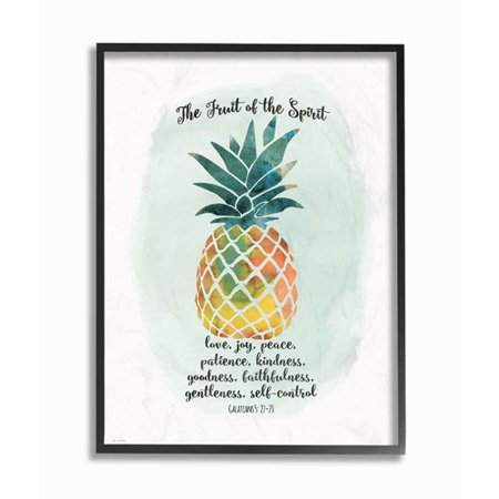 Stupell Industries The Fruit Of The Spirit Multicolored Pineapple Framed Giclee Texturized Art