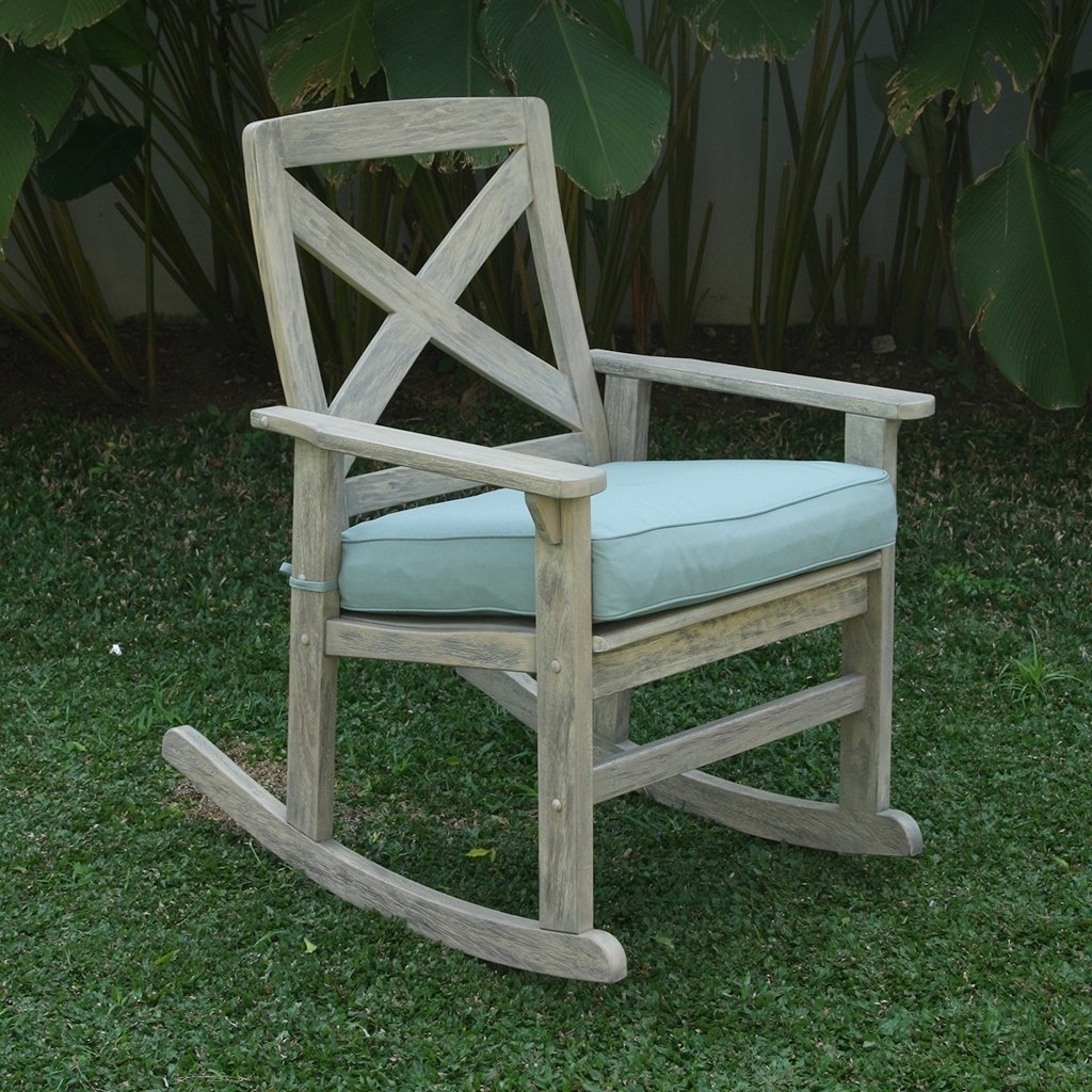 Cambridge Casual  West Lake Rocking Chair with Seat Cushion Blue