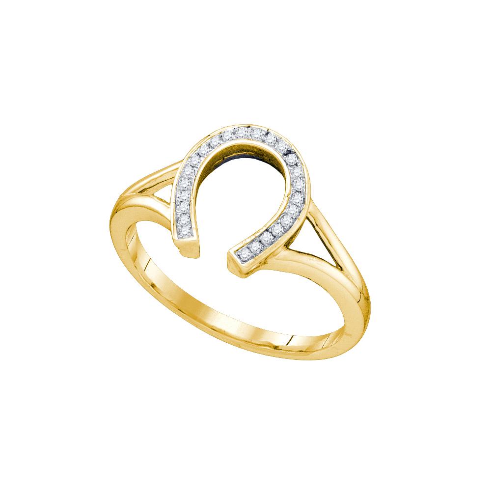 10kt Yellow Gold Womens Round Diamond Horseshoe Lucky Rin...