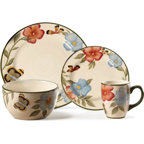 Pfaltzgraff Studio Butterfly Botanical 16-Piece Dinnerware Set