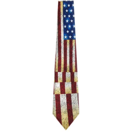 BuyYourTies - Mens Novelty USA Flag Necktie - Red White (New Novelty Tie)