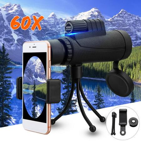 90 Green Lens (40x60 Zoom Monocular HD Telescope Telephoto Camera Lens + Phone Holder + Tripod for Mobile Cell Phone )