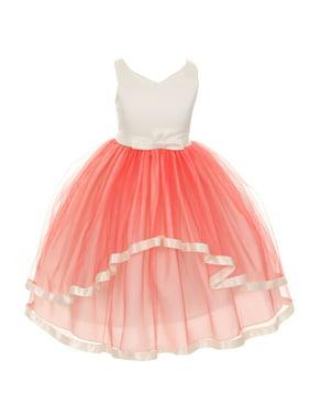 Little Girls Coral V-neck Satin Bow 3 Layer Tulle Flower Girl Dress 2-6