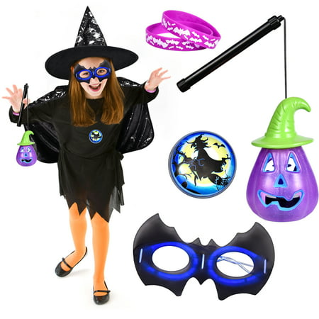 Kids Halloween Costumes, Witch Costume for Girls, Kids Supplies for Halloween Party, Witch Hat, Cloak, Pumpkin Lantern, Glow Mask - Witch Cloak Costume