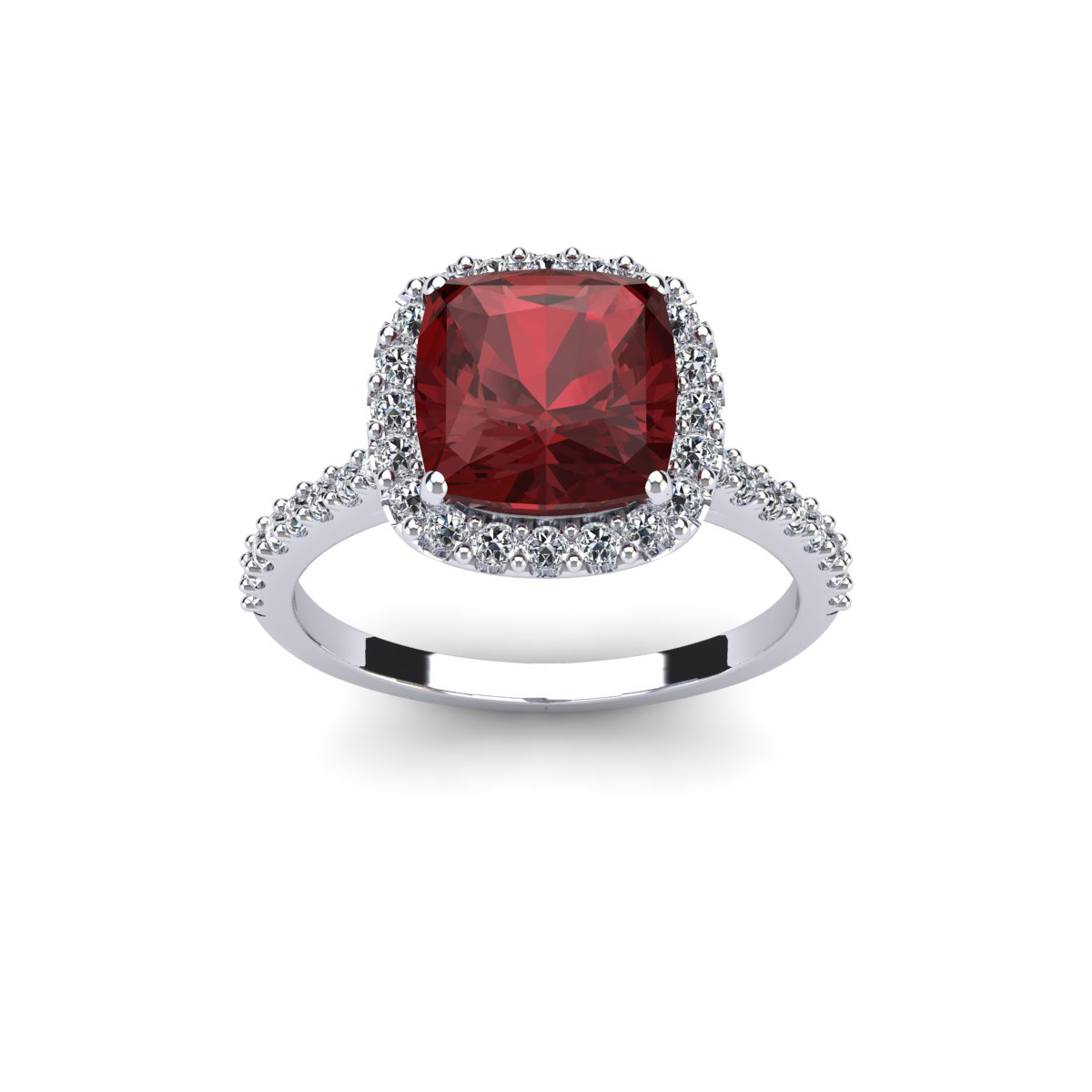 3 3/4 Carat Cushion Cut Garnet and Halo Diamond Ring In 14K White Gold