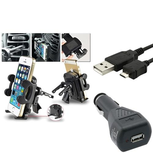 Insten 3-1 Air Vent Holder Micro USB Cable for Samsung Galaxy S4 SIV i9500 Note 2 N7100