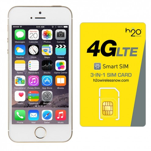 Refurbished iPhone 5s GSM Unlocked with H2O SIM card(1GB Data Included) Gold 64GB