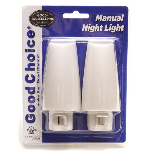 Good Choice 2pk Manual Incandescent Night Light, White