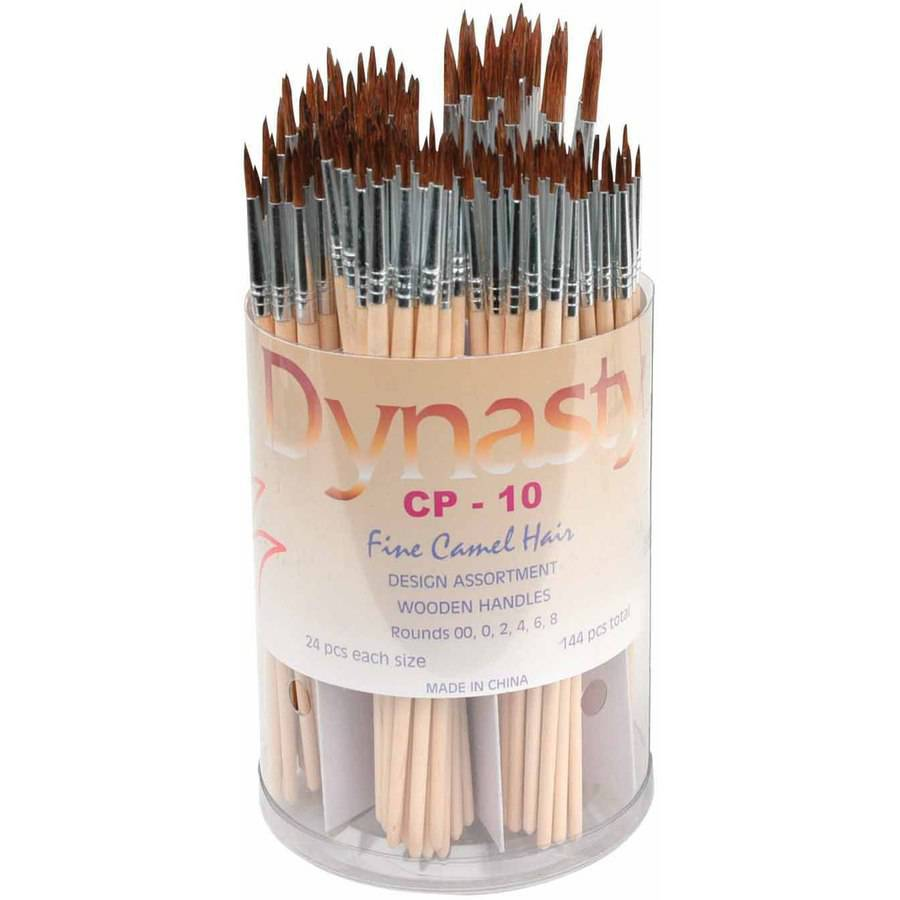 Dynasty CP-10 Fine Round Camel Hair Wood Handle Paint Brush Assortment, Assorted Size, Tan, Pack of 144
