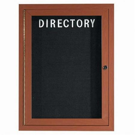 Aarco Products ADCO3624R 1-Door Enclosed Aluminum Directory Cabinet - Oak