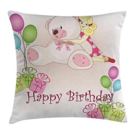 Birthday Decorations for Kids Throw Pillow Cushion Cover, Baby Girl Birthday with Teddy Bears Balloons Boxes Doll Image, Decorative Square Accent Pillow Case, 18 X 18 Inches, Light Pink, by - Baby Covered Box