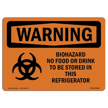 OSHA WARNING Sign - Biohazard No Food Or With Symbol | Choose from: Aluminum, Rigid Plastic or Vinyl Label Decal | Protect Your Business, Construction Site, Warehouse & Shop Area | Made in the USA (Shoppers Food Warehouse)