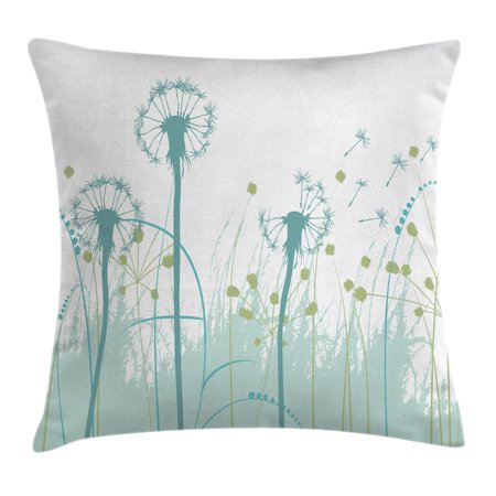 Spring Foliage - Spring Throw Pillow Cushion Cover, Silhouette Dandelion Floral Foliage Seasonal Blooms Botany Eco Illustration, Decorative Square Accent Pillow Case, 16 X 16 Inches, Khaki Almond Green, by Ambesonne