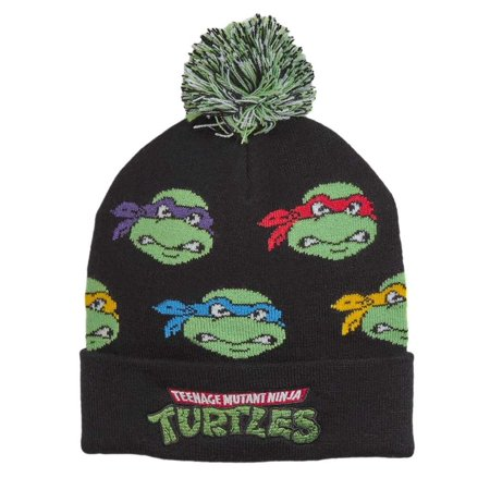 TMNT Mens Black Teenage Mutant Ninja Turtles Beanie Stocking Cap Winter Hat