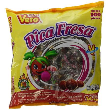 Dulces Vero Pica Fresa Chili Strawberry Flavor Gummy Mexican Candy, 100Piece, 1 LB, 5.15 OZ, Clear Strawberry/Fresa