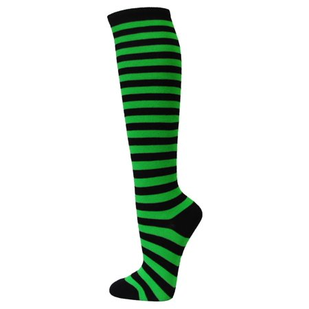 - Couver Halloween costume 2 Colored Striped Women's Fashion Colorful Knee High Tube Socks - Black / Bright Green