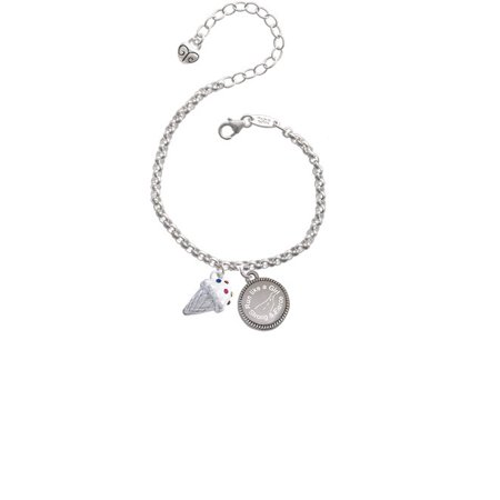 3-D Vanilla Ice Cream Cone with Crystal Sprinkles Run Like a Girl - Strong and Fierce Engraved Bracelet - Vanilla Girl