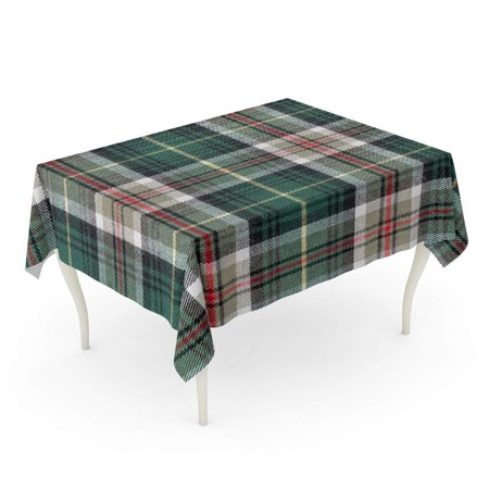 JSDART Green Plaid Printing Pattern Tartan Red Check Christmas Wool Vintage Tablecloth Table Desk Cover Home Party Decor 52x70 inch - image 1 de 1