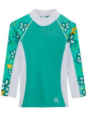 Tuga Girls Shoreline L/S Rash Guard (UPF 50+), Seafoam, 11/12 yrs