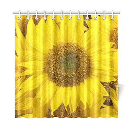 YUSDECOR Sunflowers Closeup Shower Curtain Waterproof Bath Curtain Decor 66x72 inch - image 2 de 2