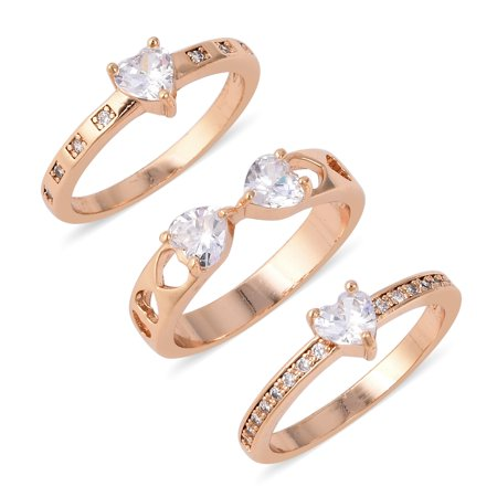 - Goldtone Heart White Cubic Zirconia CZ Statement Set of 3 Ring for Women Cttw 1.2
