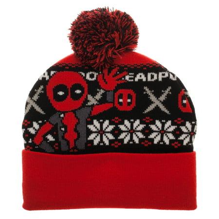 250f45e54af Marvel Comics Knitted Deadpool Fairisle Cuff Beanie with Pom ...