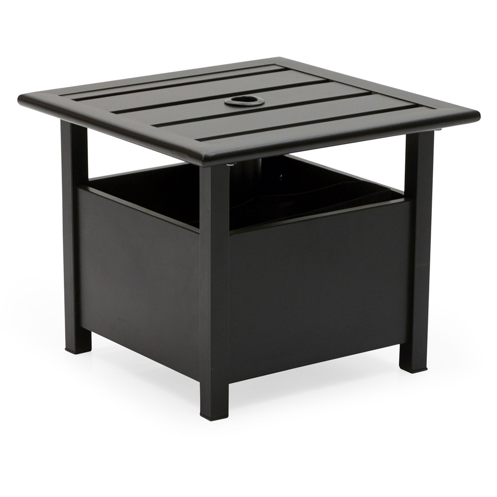 Belham Living Steel Square Umbrella Side Table with Slat Top