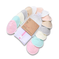 Organic Bamboo Nursing Breast Pads - 14 Washable Pads + Wash Bag - Breastfeeding Nipple Pad for Maternity - Reusable Nipplecovers for Breast Feeding (Pastel Touch, Large 4.8""