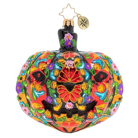 Christopher Radko Dia De Los Muertos Pumpkin Christmas Ornament - Retired Radko Halloween Ornaments