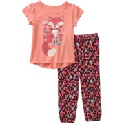 Healthex Toddler Girls' Short Sleeve Tee and Soft Jogger Pants Outfit Set