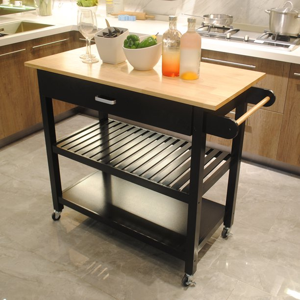Rolling Kitchen Cart Kitchen Storage Island With Wine Rack Shelf Drawer Wood Kitchen Counter Cabinet On Wheels Kitchen Prep Table Cart Microwave Carts For Kitchen Dining Room A1531 Walmart Com Walmart Com