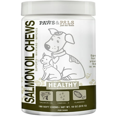 Paws & Pals Wild Alaskan Salmon Fish Oil Chews For Dogs - With Omega 3 & 6 For Cat Pet Supplement Treats ()