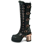 Hades Shoes H-Langdon Knee high platform boots with oxford tuxedo fabric 9 / Black