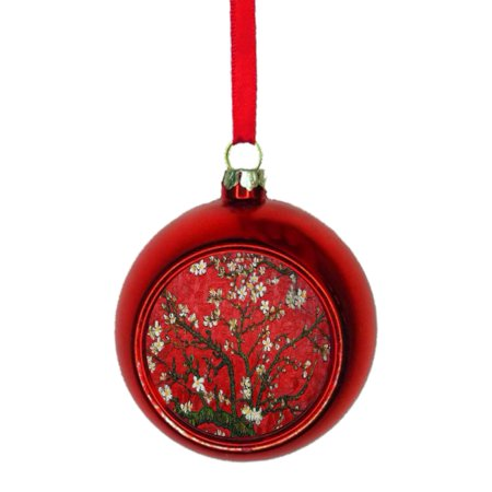 Artist Christmas Ornaments.Artist Vincent Van Gogh S Almond Blossoms In Red Painting Bauble Christmas Ornaments Red Bauble Tree Xmas Balls