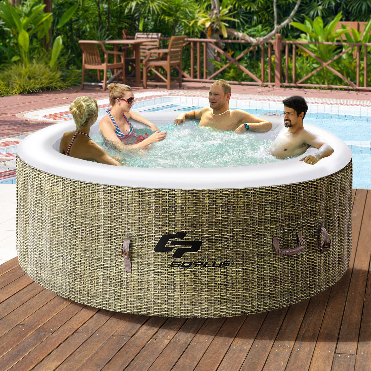 Goplus 4 Person Inflatable Hot Tub Outdoor Jets Portable Heated Bubble Massage Spa by Costway