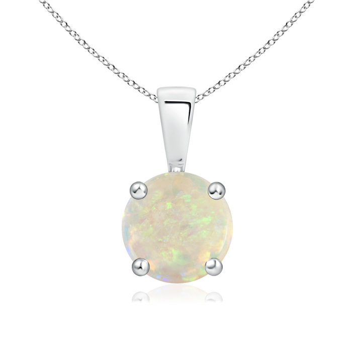 October Birthstone Pendant Necklaces Prong Set Round Opal Solitaire Pendant in 950 Platinum (7mm Opal) SP0108OP-PT-AAA-7 by Angara.com