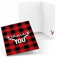 Prancing Plaid - Christmas & Holiday Buffalo Plaid Party Thank You Cards (8 count)