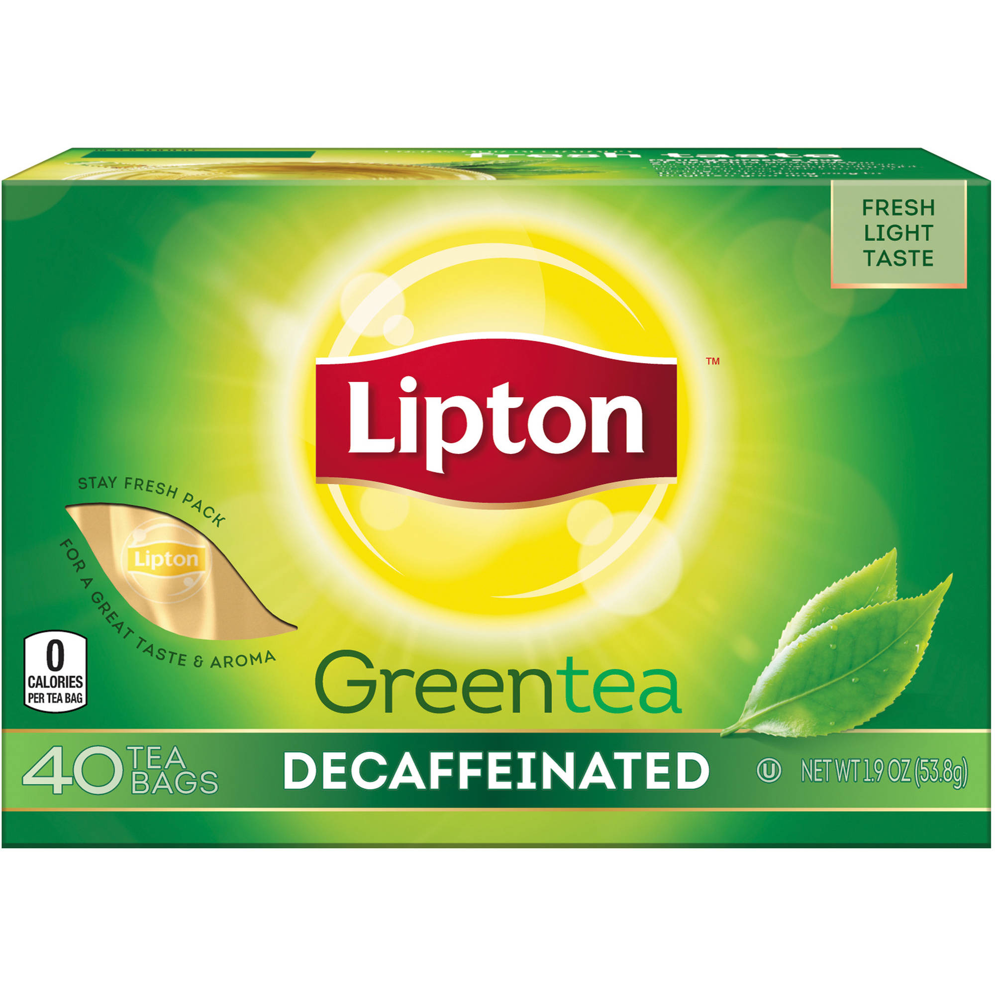 Lipton Decaffeinated Green Tea Bags, 40 ct