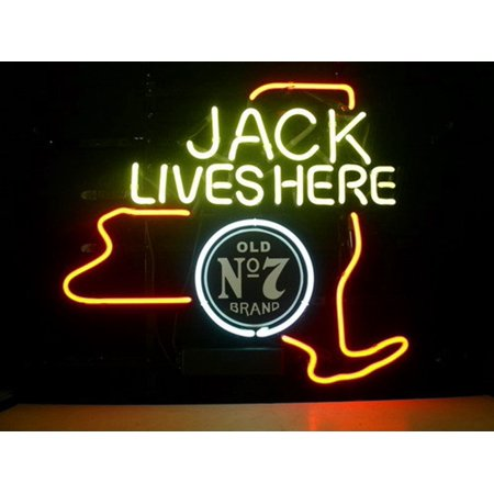 Desung Brand New Jack Daniels Lives Here New York Old Number 7 No. 7 #7 Whiskey Neon Sign Lamp Glass Beer Bar Pub Man Cave Sports Store Shop Wall Decor Neon Light 20