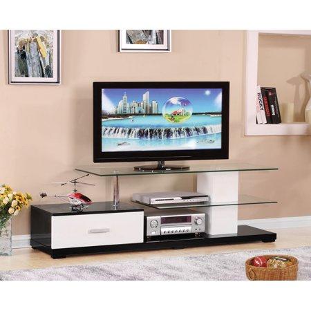 ACME Ivana Rectangular TV Stand with 1 Drawer in White & - Rectangular Stand