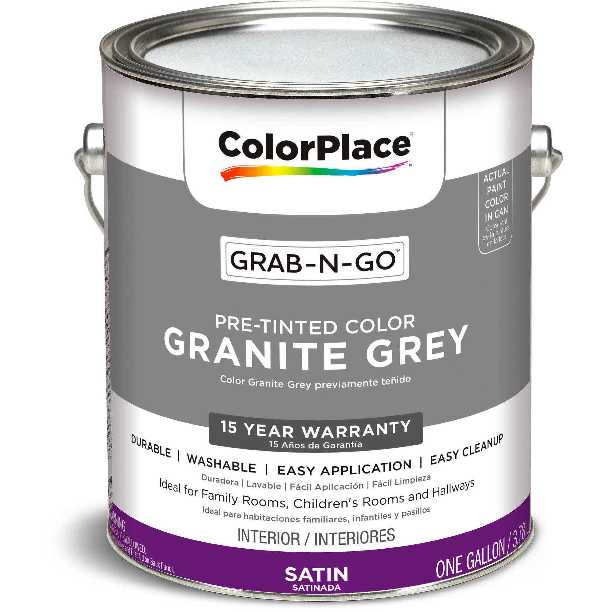 ColorPlace Grab-N-Go, Interior Paint, Satin Finish, Granite Grey, 1 Gallon by PPG Architectural CoatingS