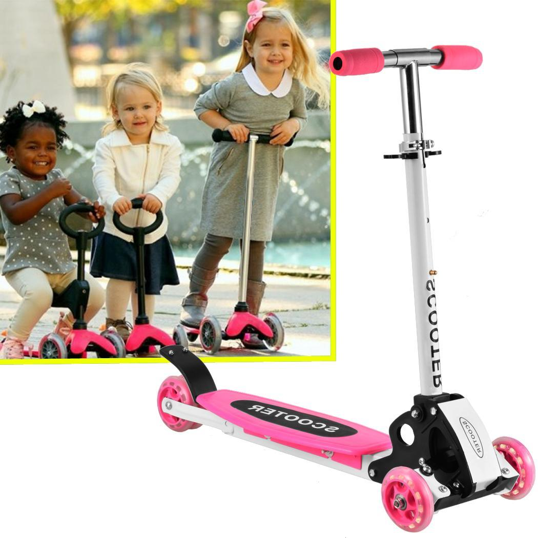 Flashing Kids Kick Scooter Folding Foot Scooter Adjustable T-Bar Push Toddler 3 Wheels Scooter cbst