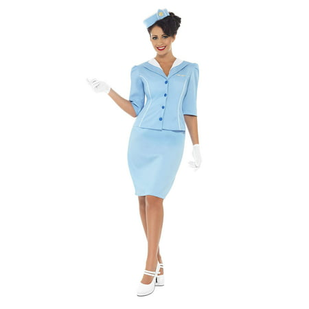 Air Hostess Adult Costume - Large](Retro Air Hostess Costume)