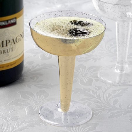 Efavormart 60 Pack 6 oz Glittered Clear Champagne Cocktail Disposable Plastic Glass Dessert