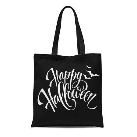 ASHLEIGH Canvas Tote Bag Gray Text Happy Halloween Message Party Pumpkin White Black Reusable Shoulder Grocery Shopping Bags Handbag](Halloween Torte Kuchen)