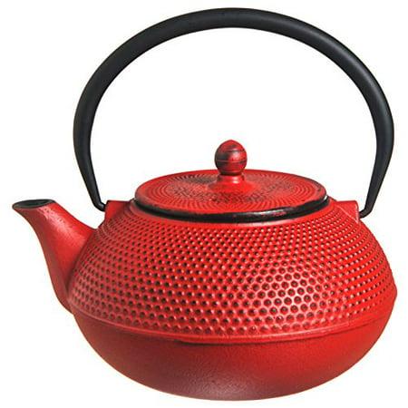 New Star International T7002 Cast Iron Teapot, 21-Ounce, Red Hobnail - Hobnail Cast Iron Teapot
