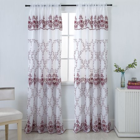 Vienna Floral Embroidered 54 x 84 in. Rod Pocket Single Curtain Panel in Burgundy