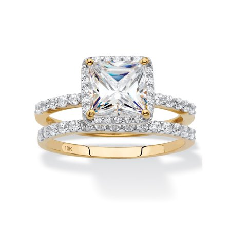 - Princess-Cut Cubic Zirconia 2-Piece Wedding Ring Set 2.15 TCW in Solid 10k Yellow Gold